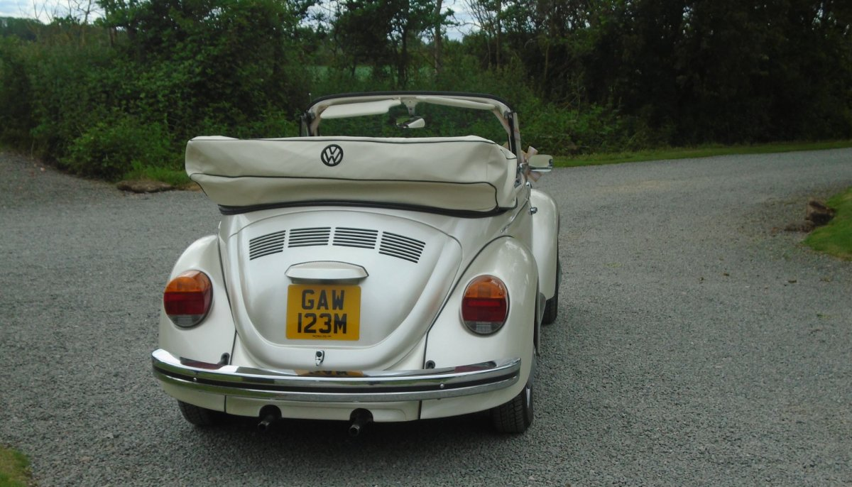 Rear picture of an ivory vintage VW Beetle cabriolet wedding car with roof down