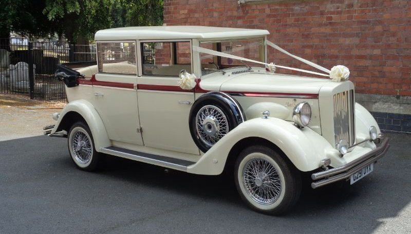 ivory vintage Style Regent Landaulet wedding car with roof down